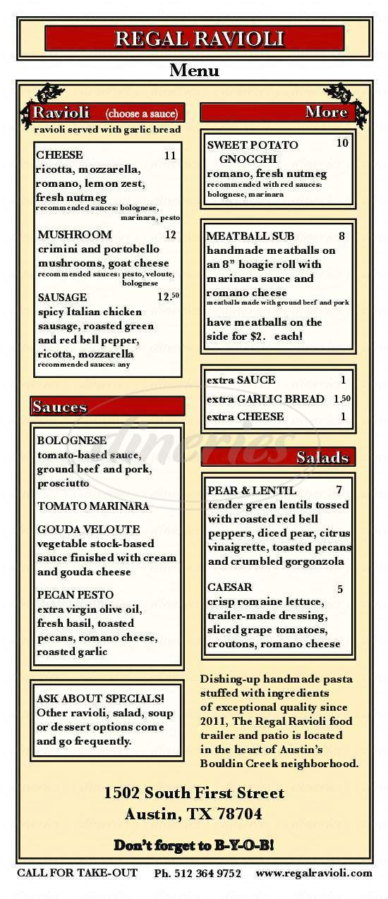 menu for Regal Ravioli