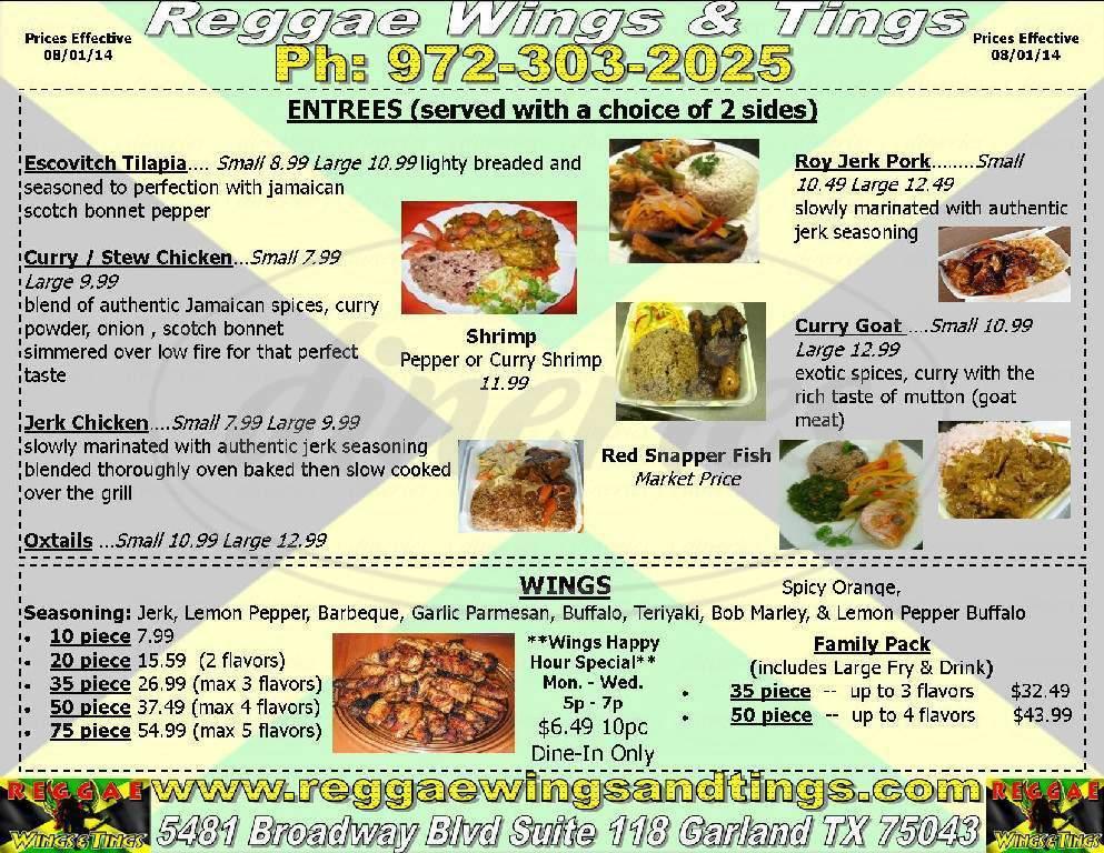 menu for Reggae Wings and Tings