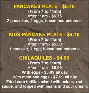 menu for La Chapala