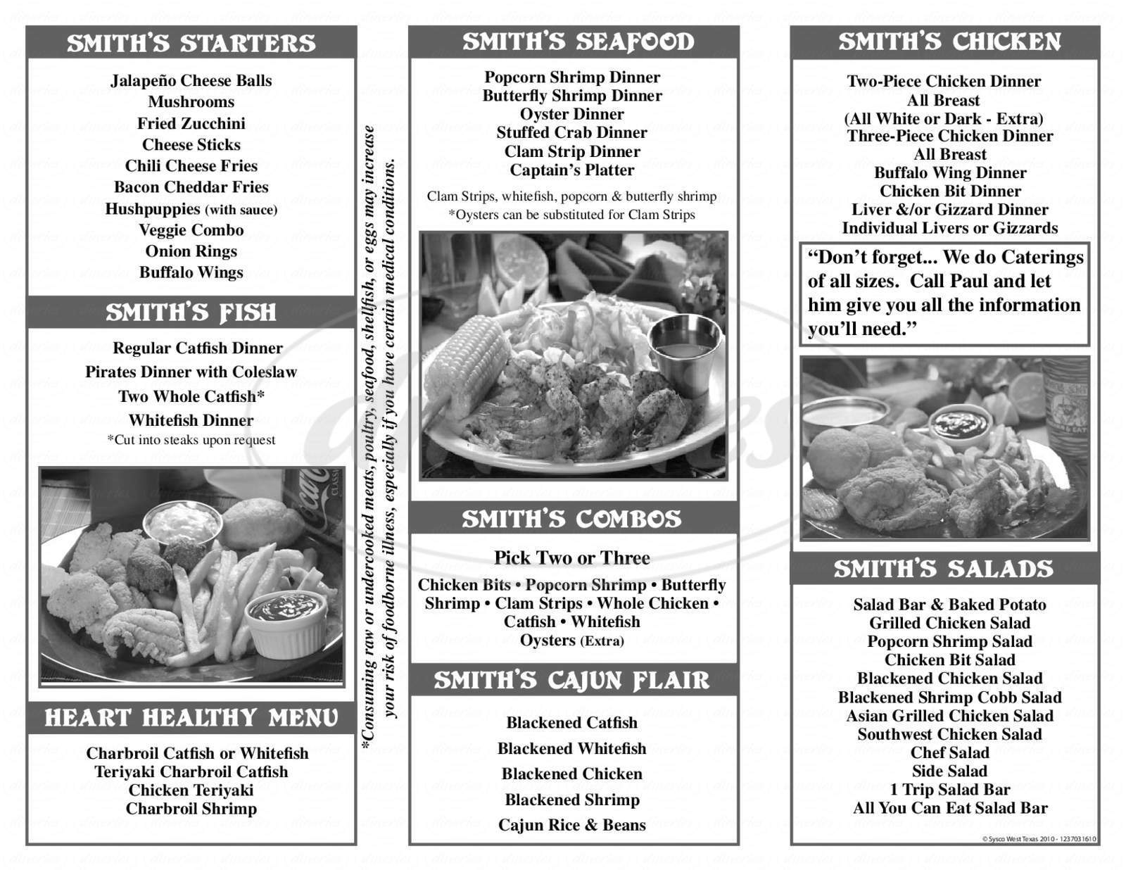 menu for River Smith's