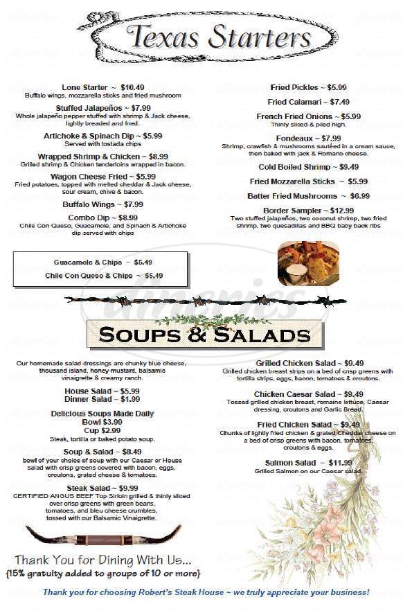 menu for Robert's Steak House