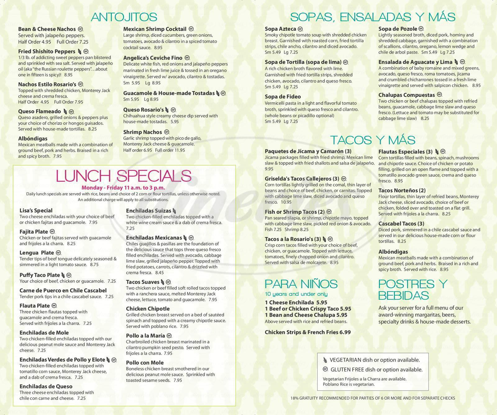 menu for Rosario's Mexican Cafe Y Cantina