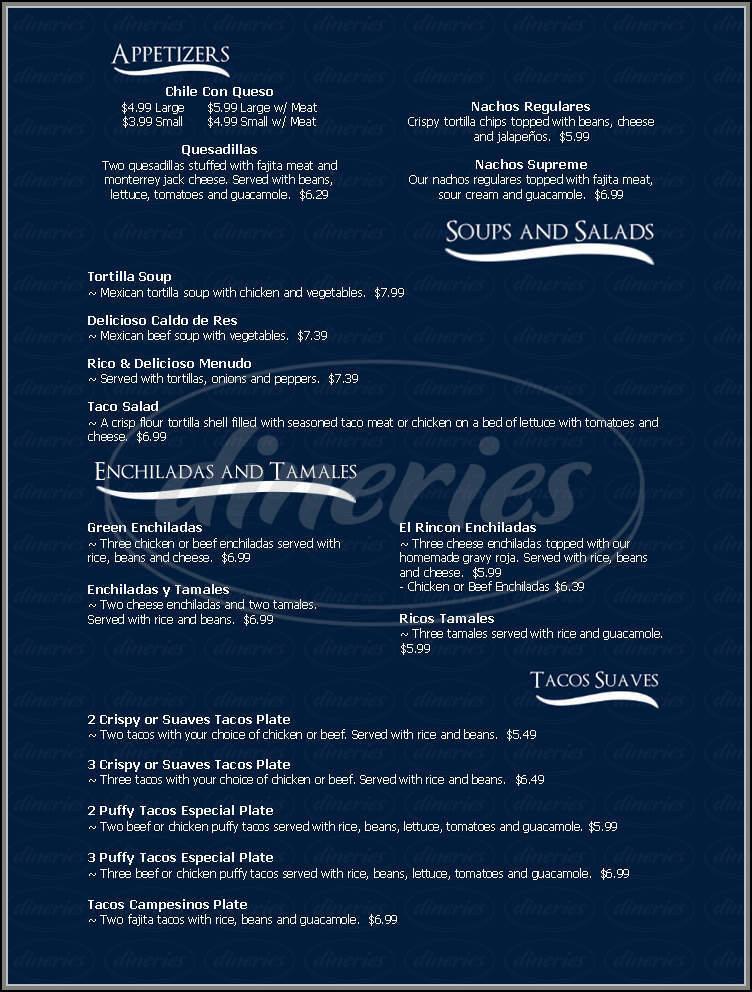 menu for El Rincon