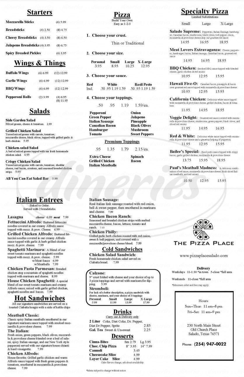 menu for The Pizza Place
