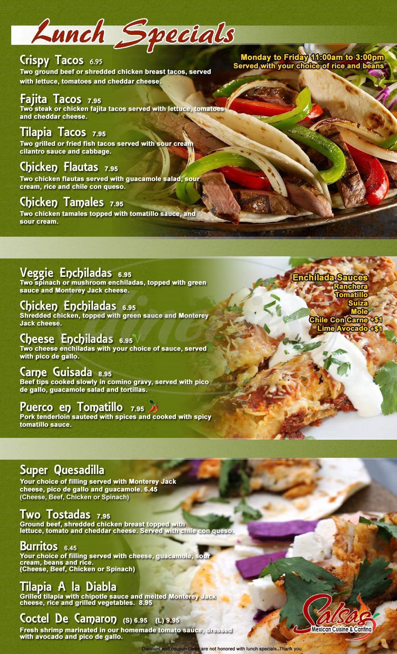 menu for Salsas