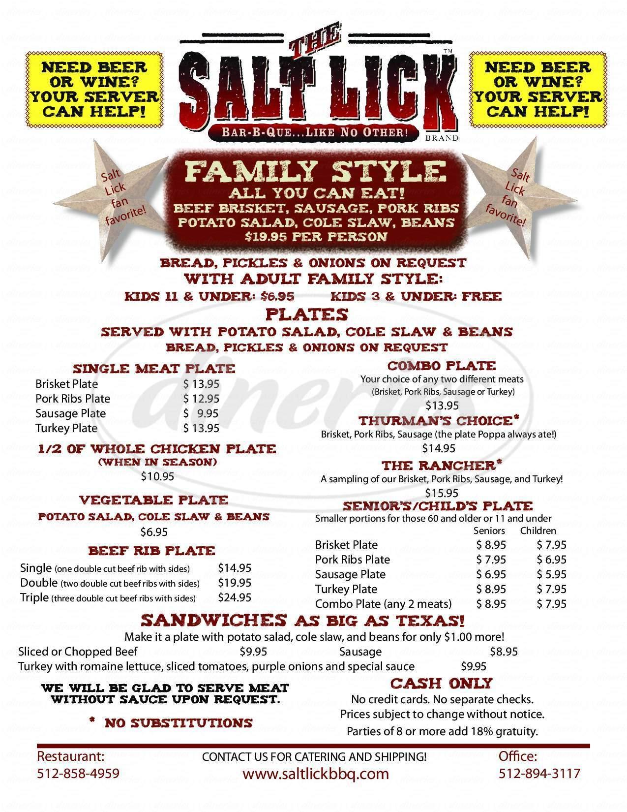 menu for The Salt Lick Taco Bar