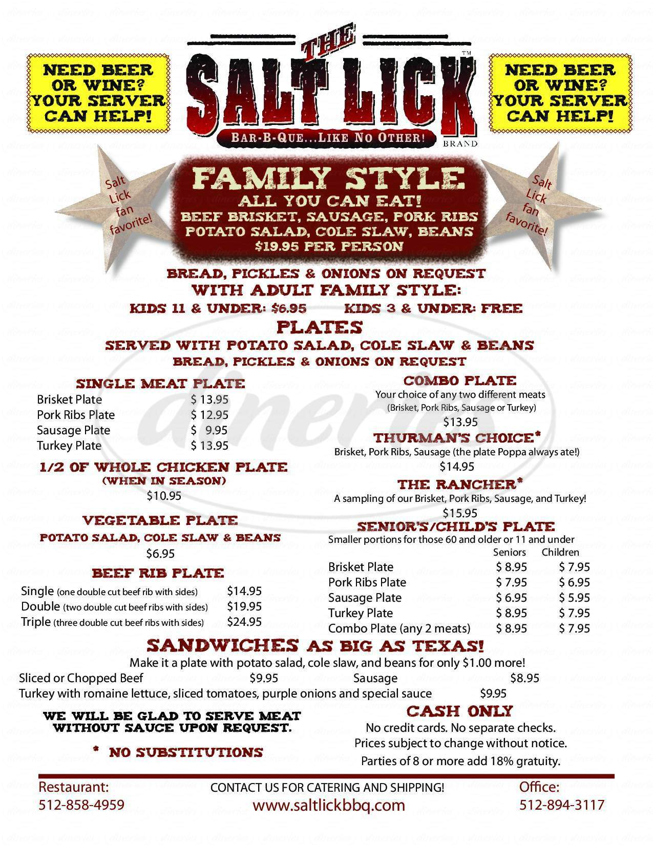 menu for The Salt Lick