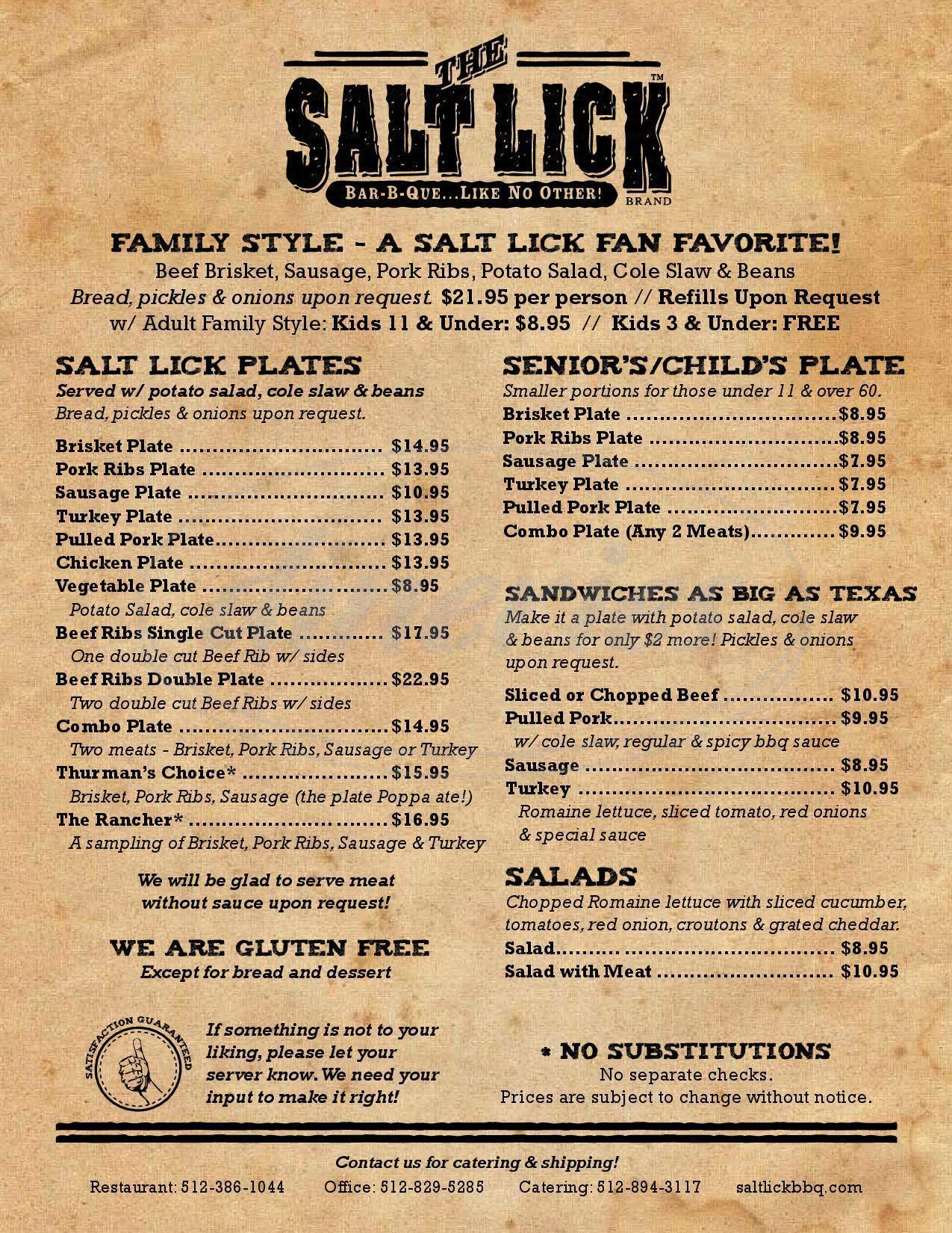 menu for The Salt Lick BBQ