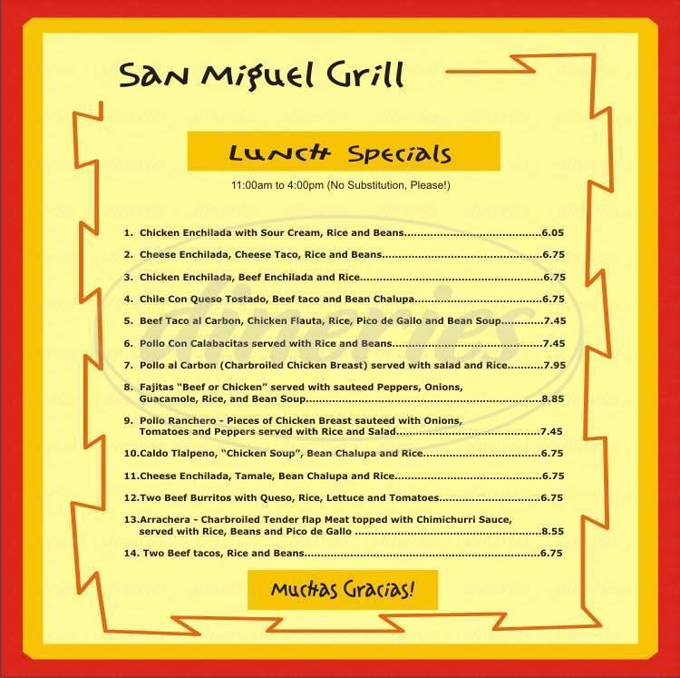 menu for San Miguel Grill