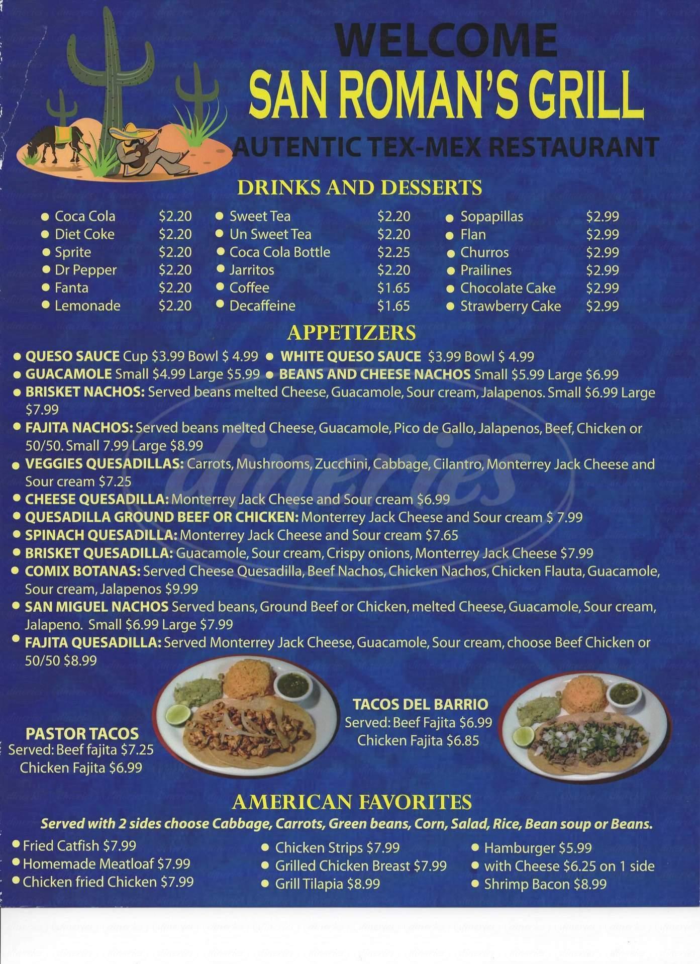 menu for San Roman's Grill