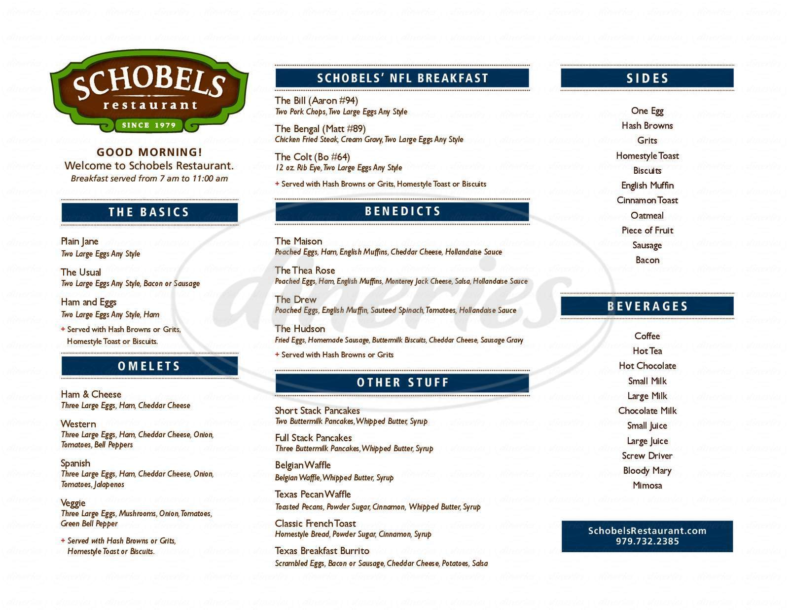 menu for Schobels' Restaurant