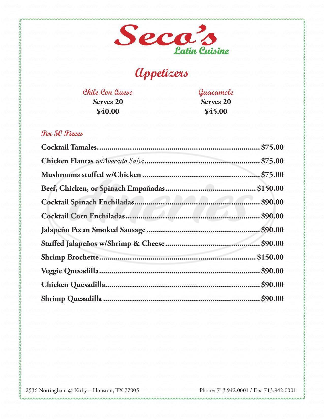 menu for Seco's Latin Cuisine