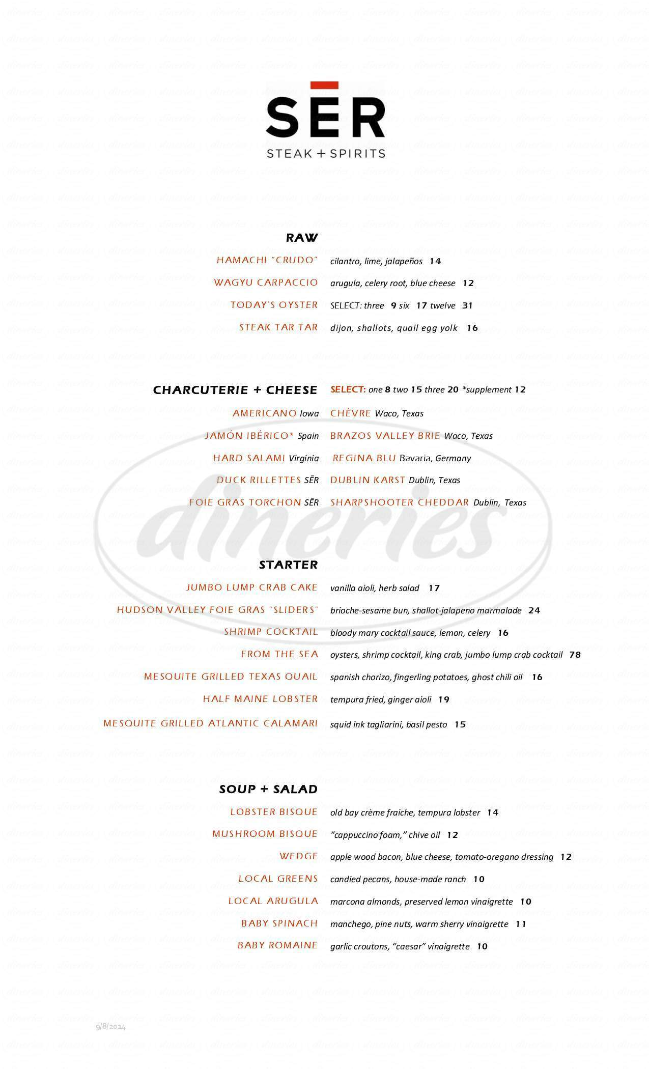 menu for SER Steak & Spirits
