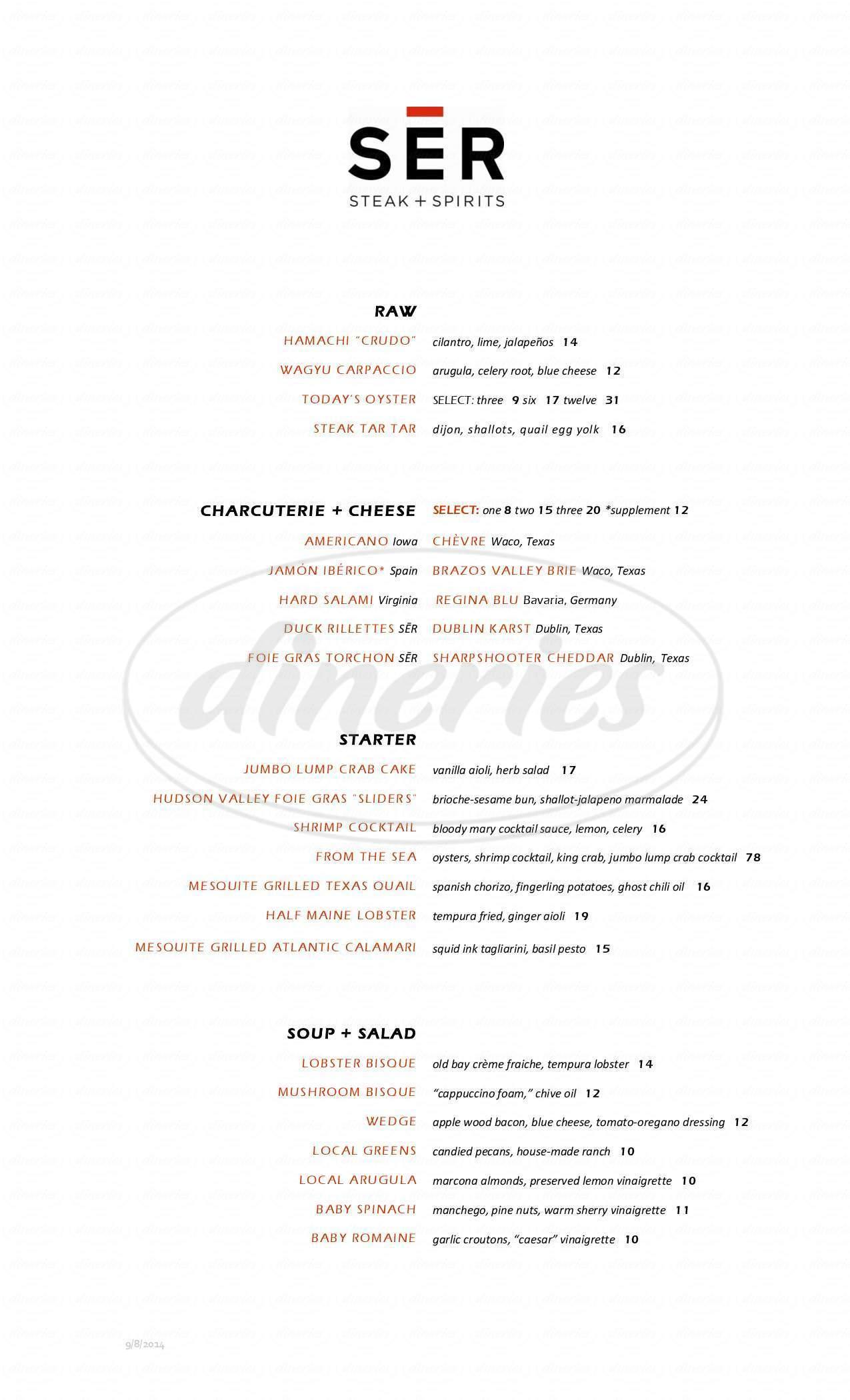 menu for SER Steak & Spirits
