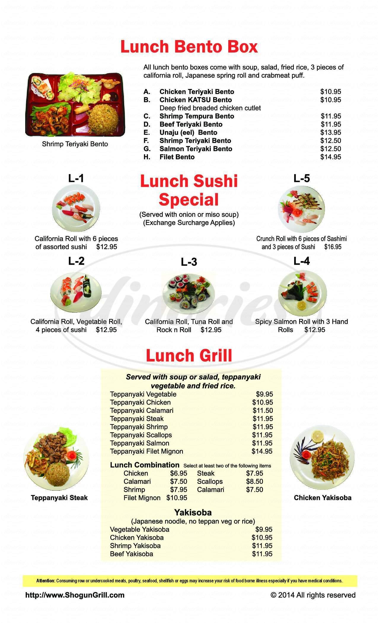 menu for Shogun Japanese Grill & Sushi Bar