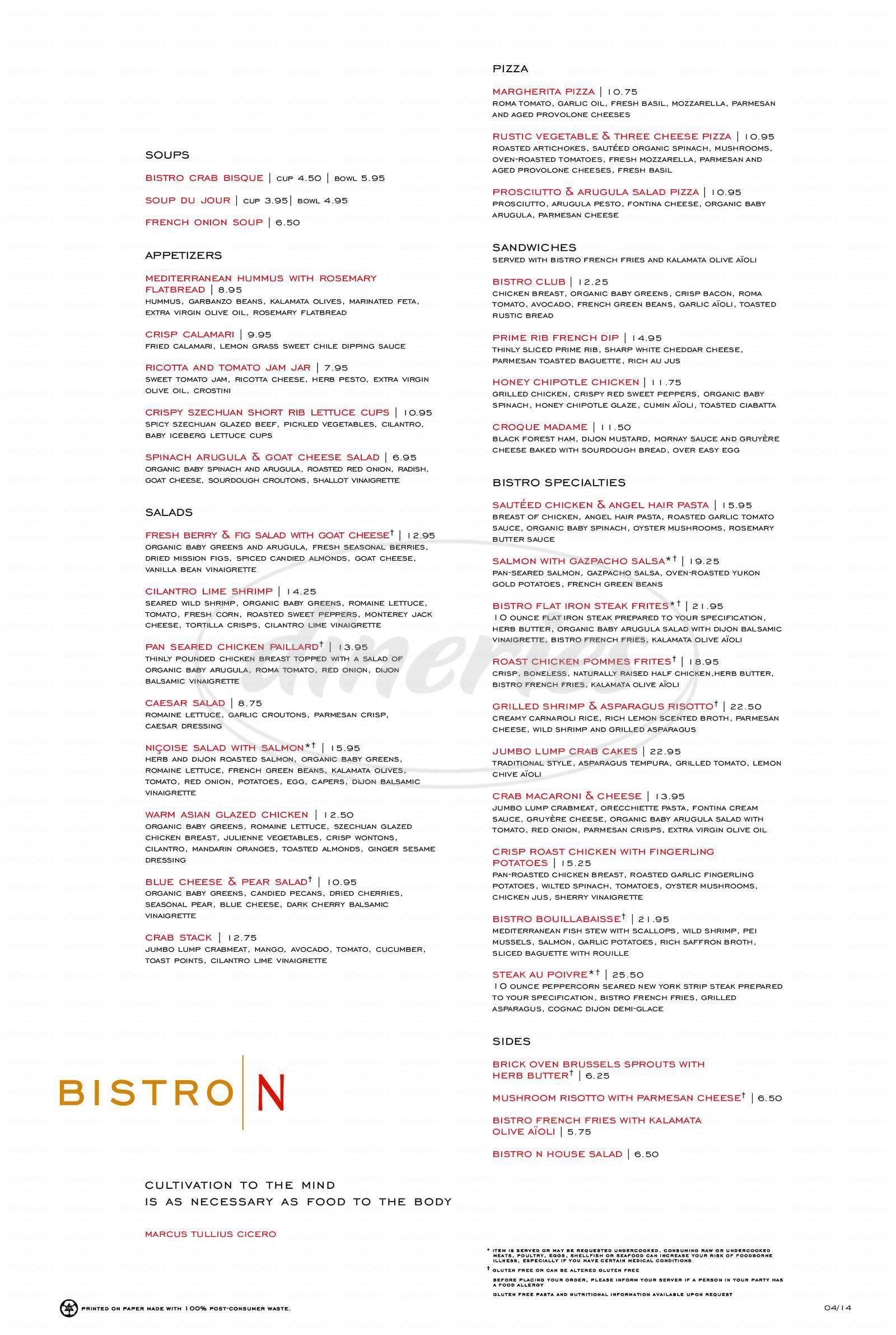 menu for Nordstrom Bistro