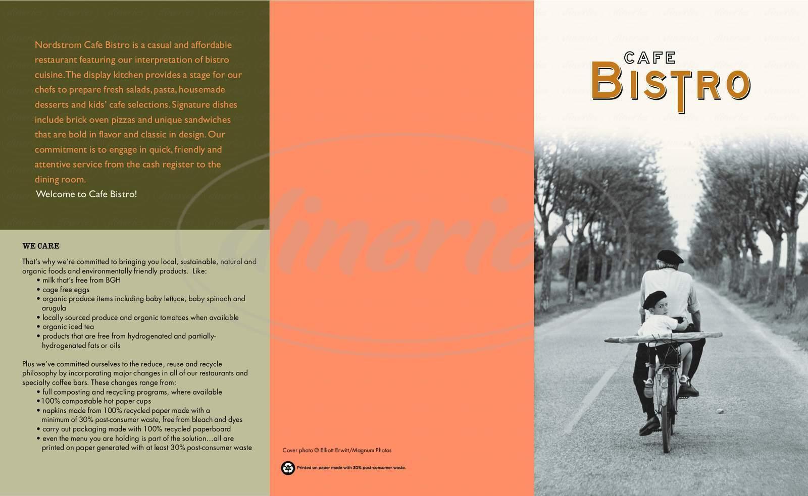 menu for Cafe Bistro