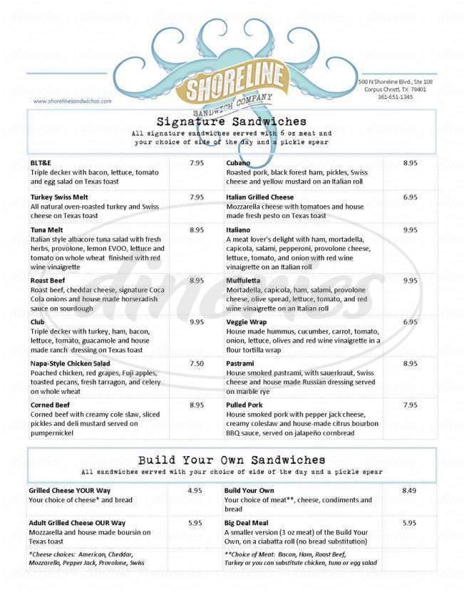 menu for Shoreline Sandwich Company