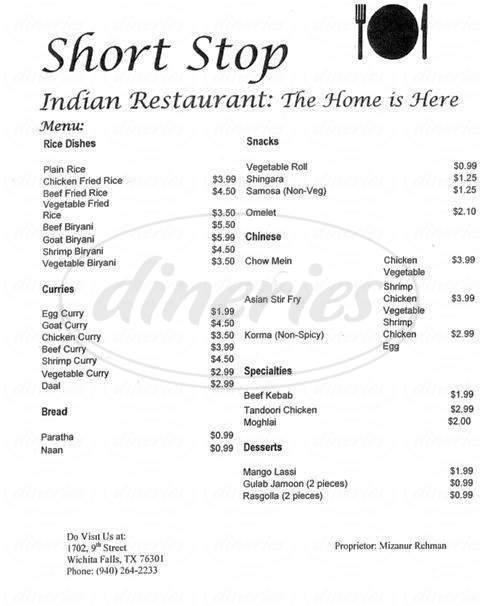 menu for Short Stop Indian Restaurant