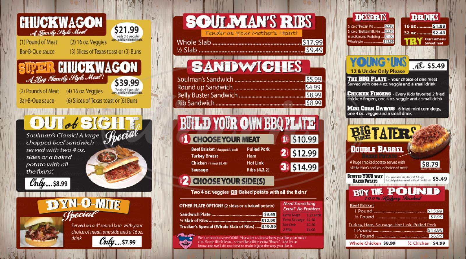 menu for Soulman's Bar-B-Que