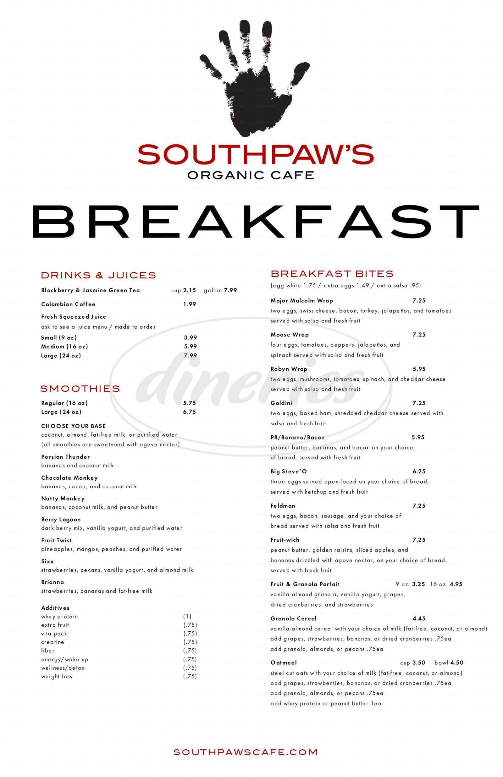 menu for Southpaw's Organic Café