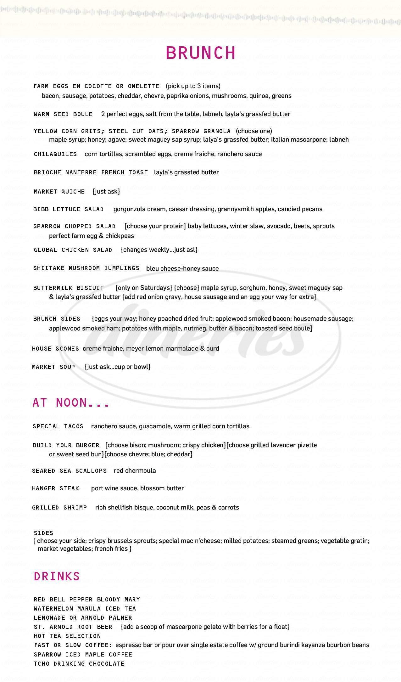 menu for Sparrow Bar + Cookshop