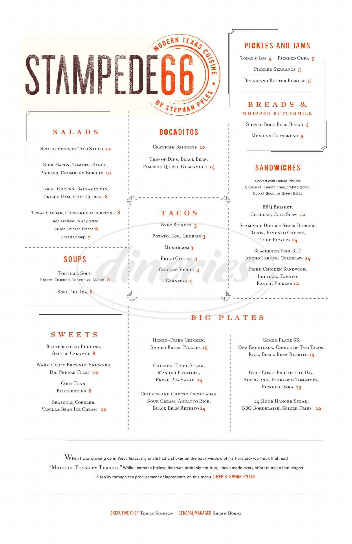 menu for Stampede 66