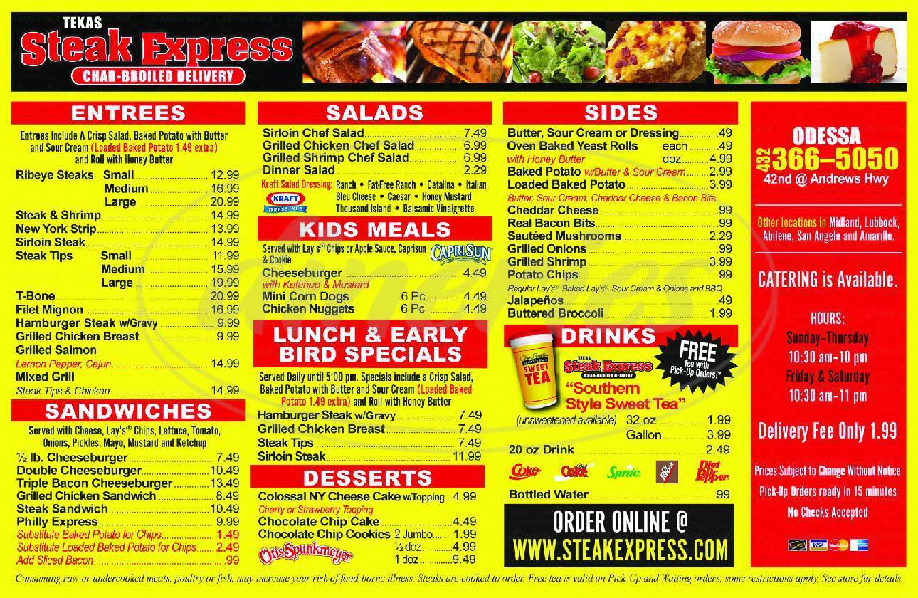 menu for Steak Express