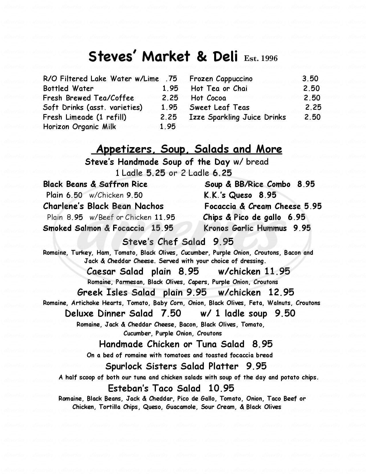 menu for Steves' Market & Deli