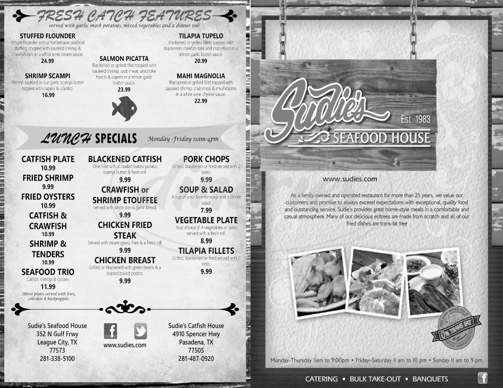 menu for Sudie's