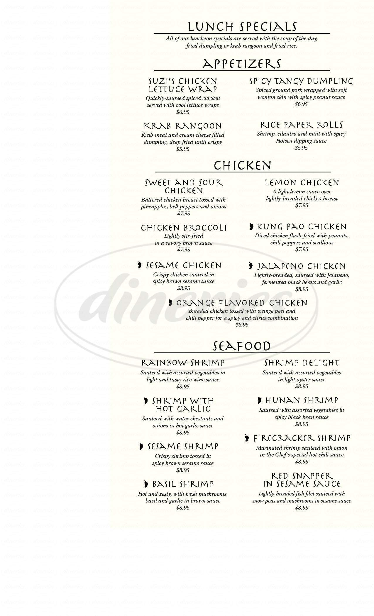 menu for Suzi's China Grill & Sushi Bar