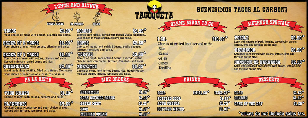 menu for Tacoqueta