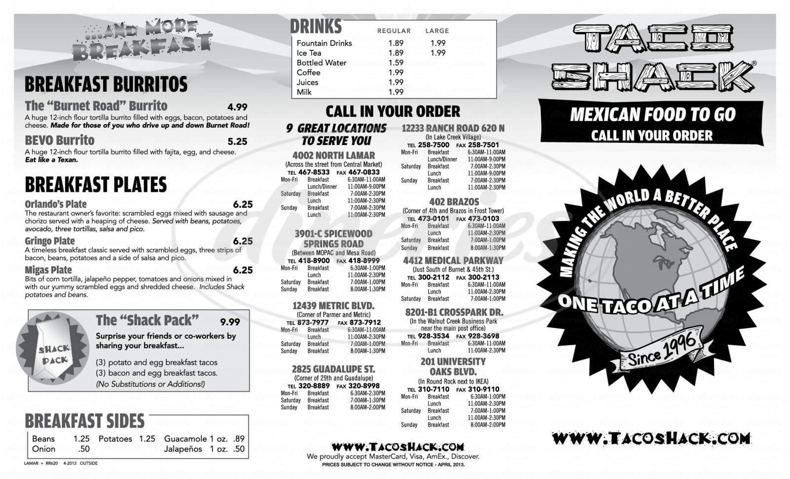 menu for Taco Shack