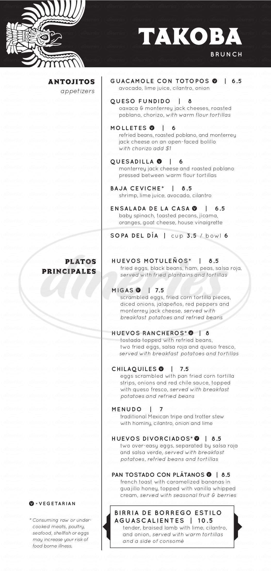 menu for Takoba