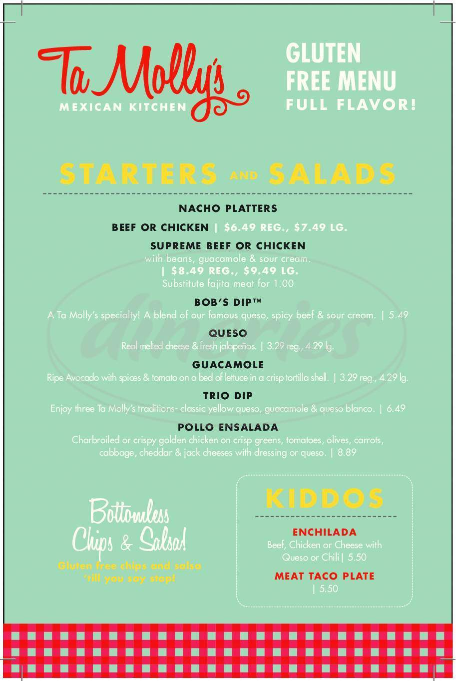 menu for Tamolly's