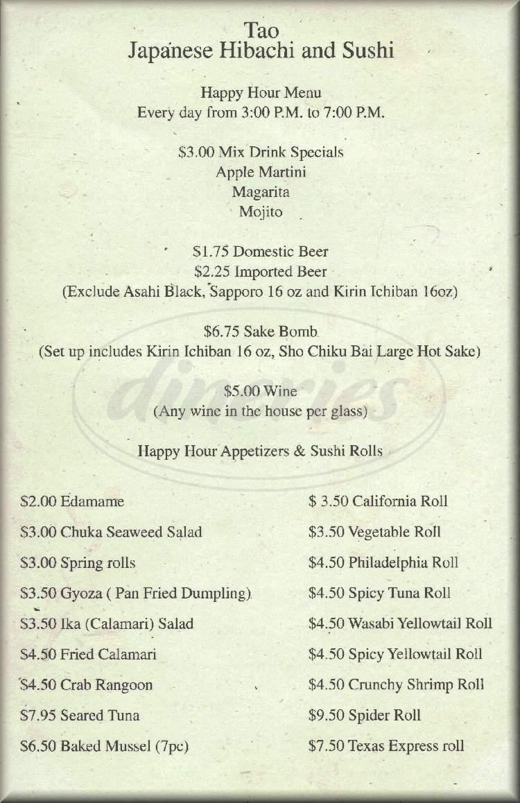 menu for TAO Japananese Hibachi & Sushi