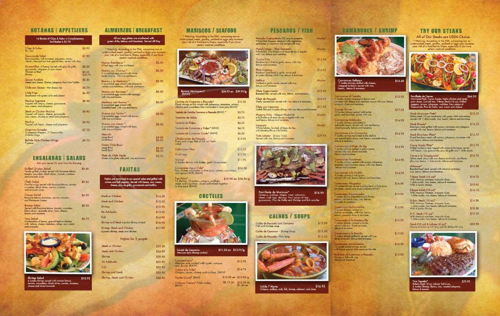 menu for El Tapatio