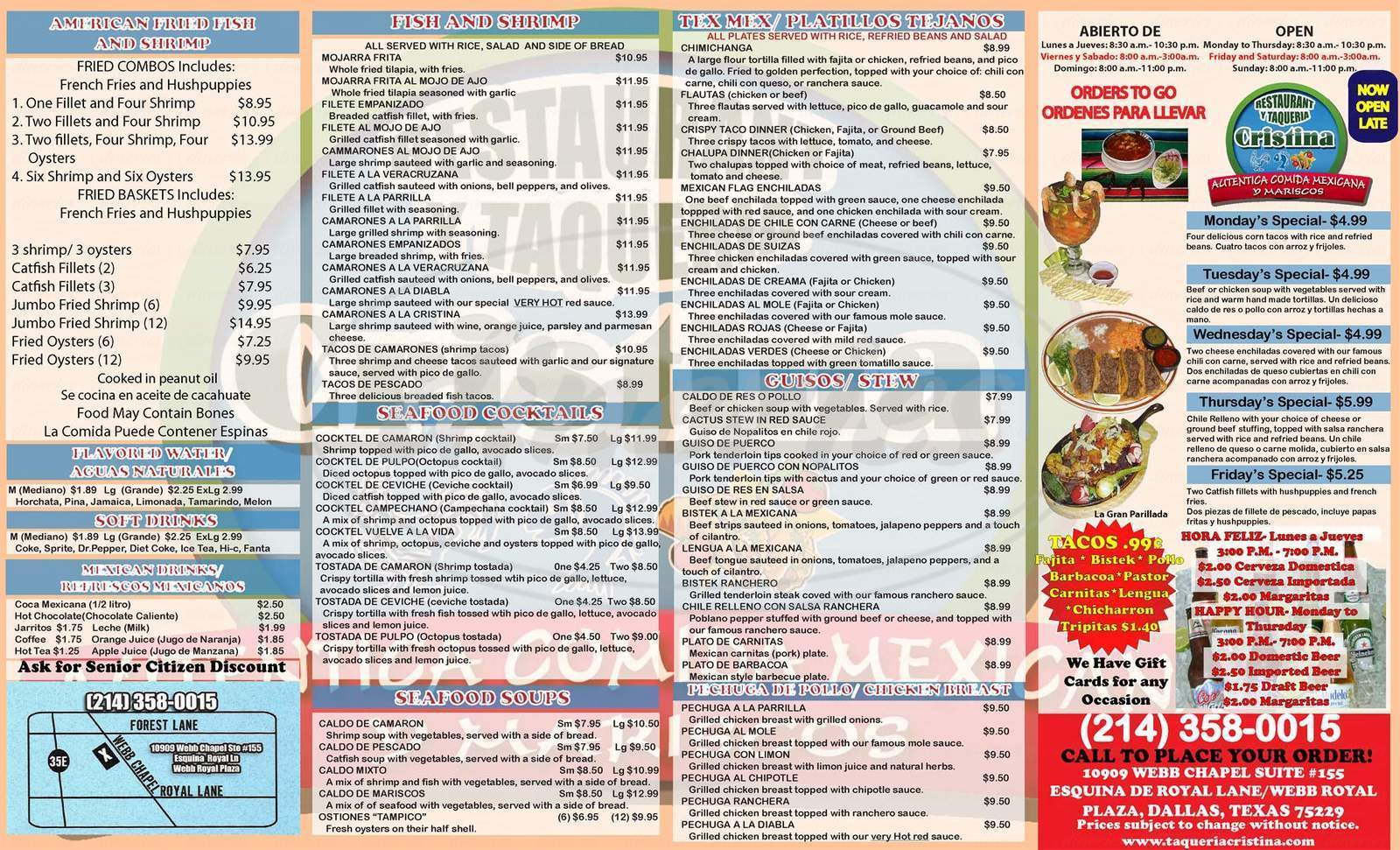 menu for Restaurant Y Taquería Cristina