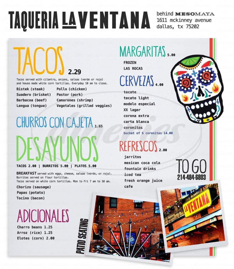 menu for La Ventana