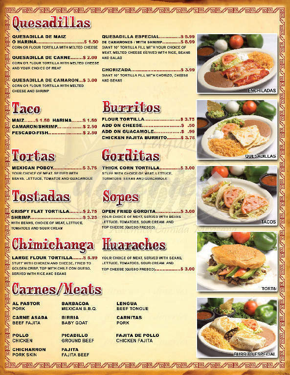 menu for Taqueria Tepatitlan