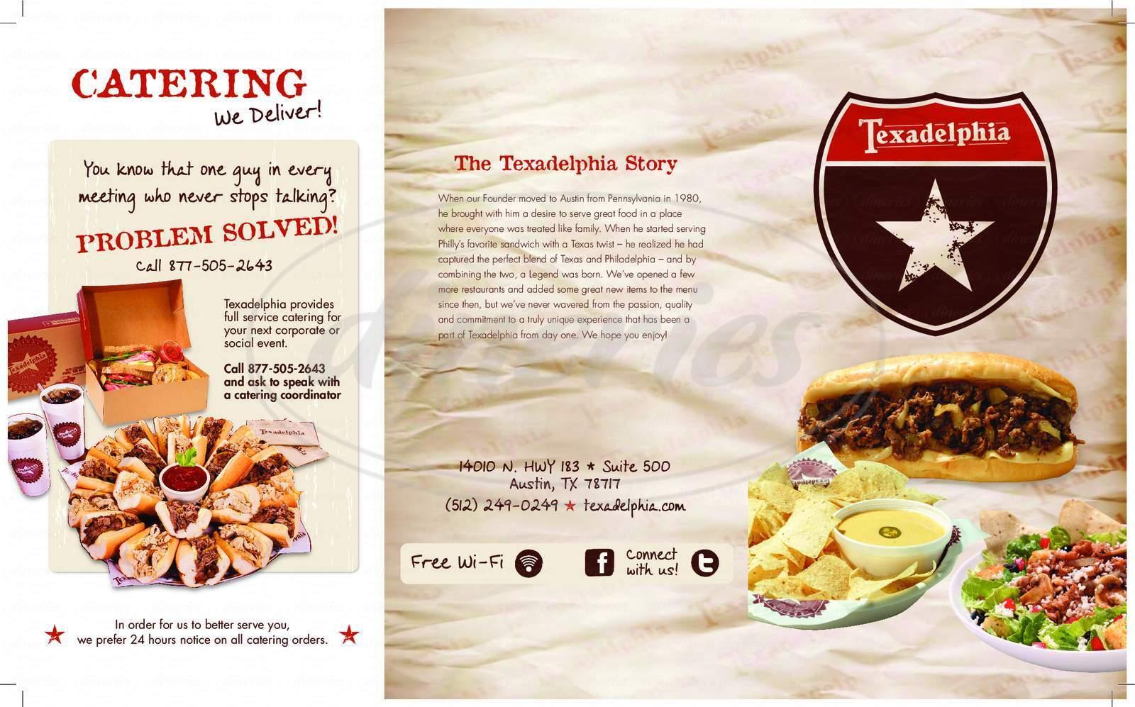 menu for Texadelphia