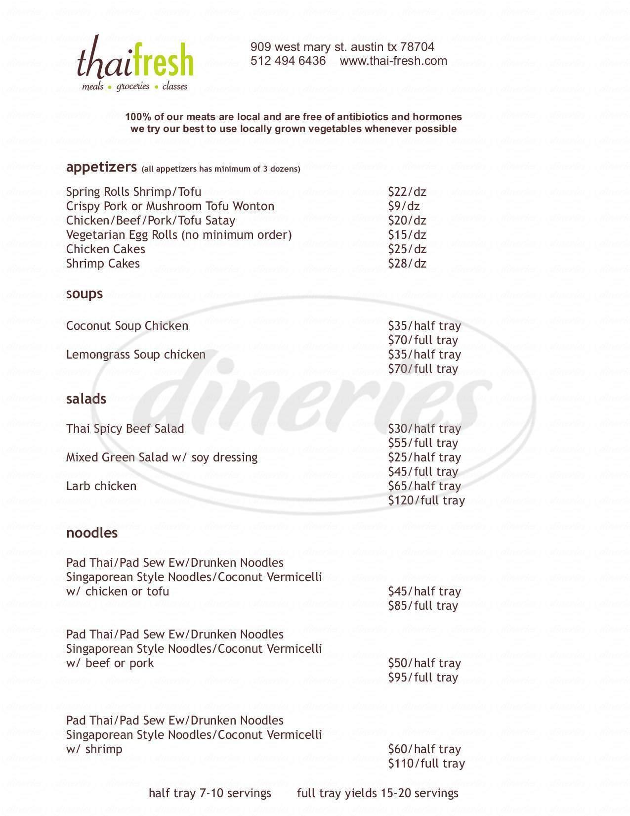 menu for Thai Fresh