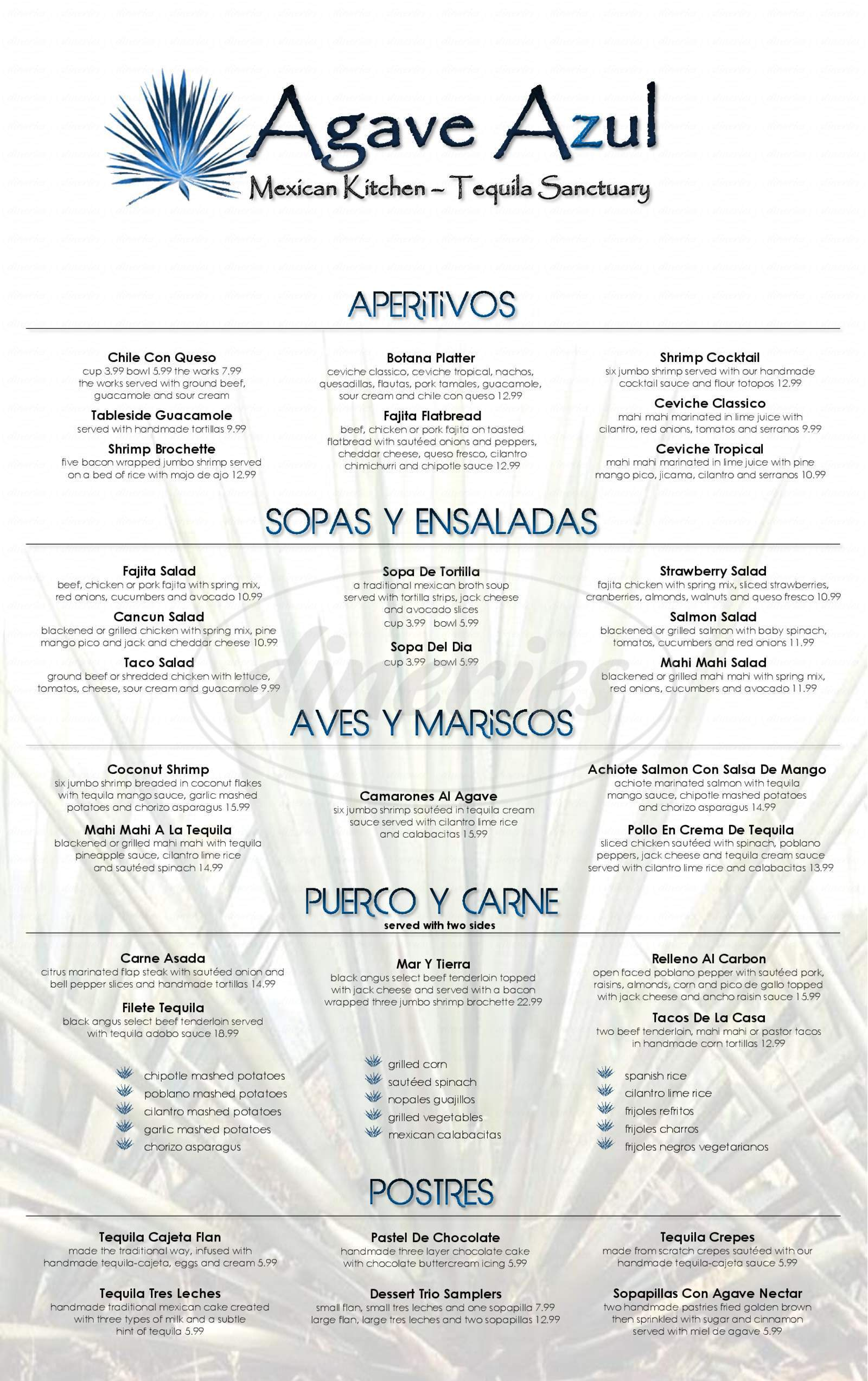 menu for Agave Azul Mexican Kitchen & Tequila
