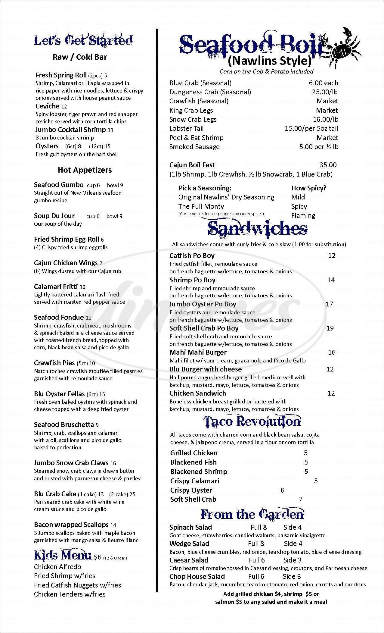 menu for The Blu Crab