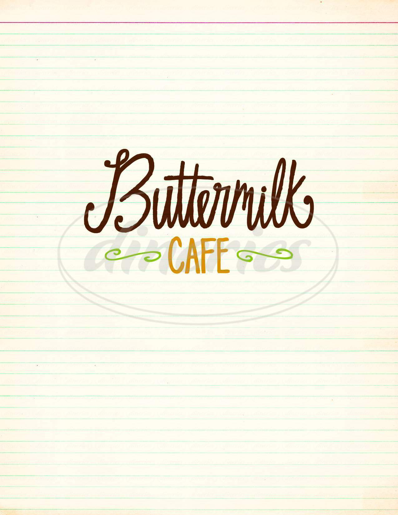 menu for The Buttermilk Cafe