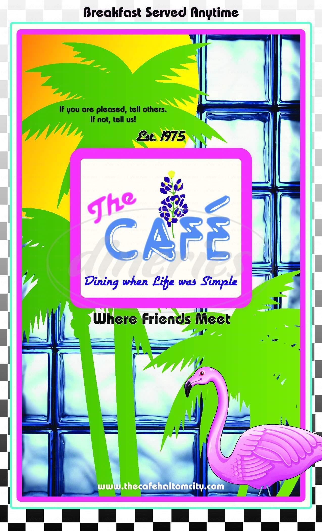 menu for The Cafe