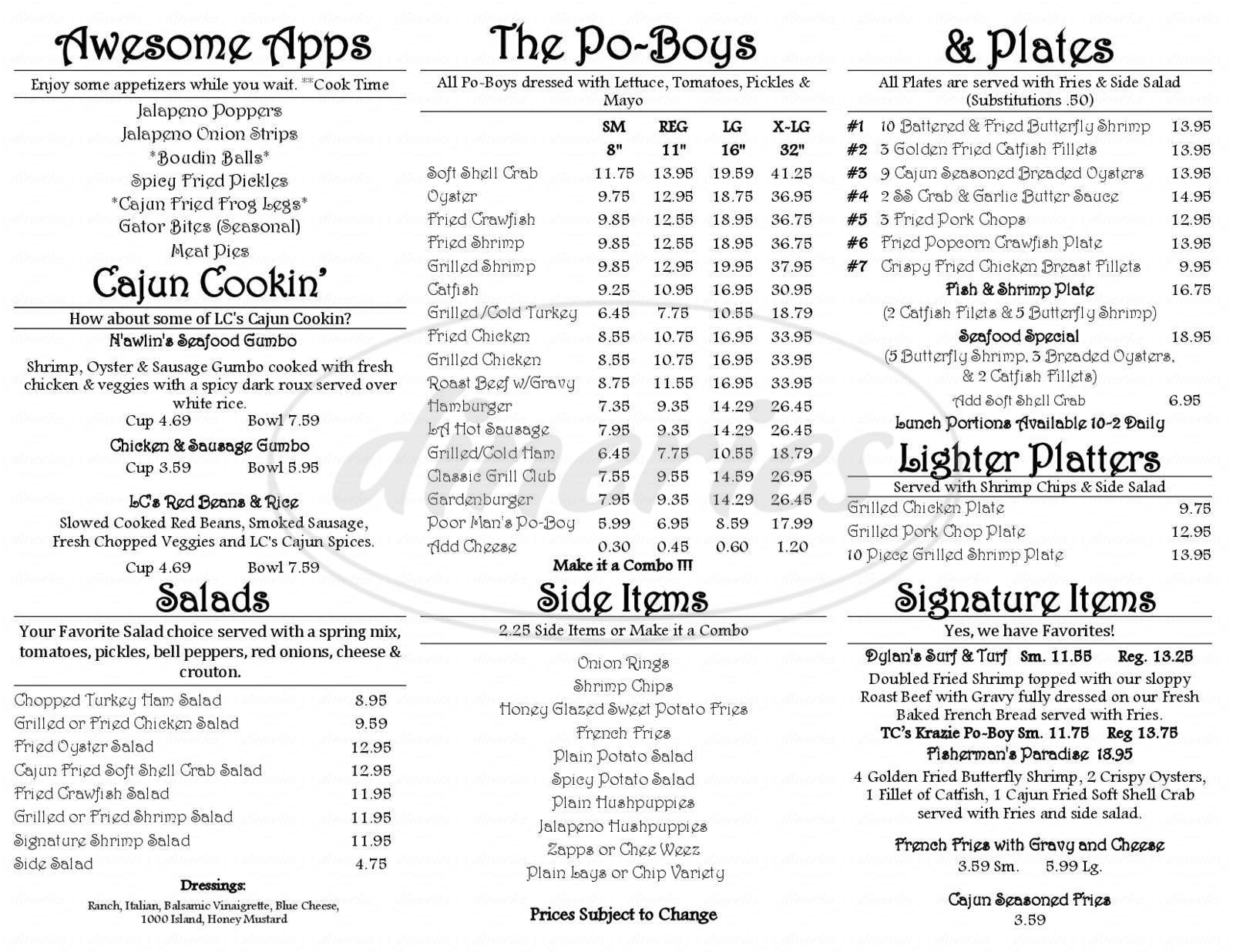menu for The Cajun Stop
