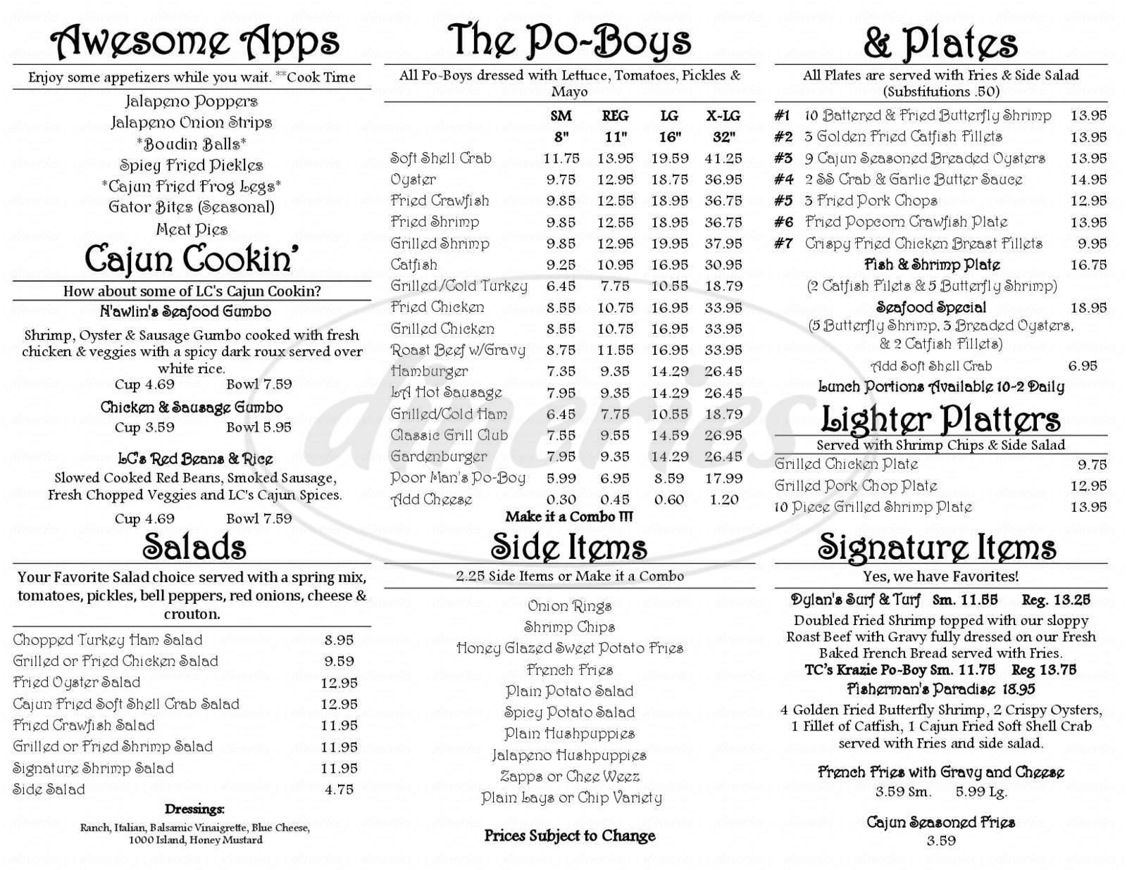 menu for The Cajun Stop