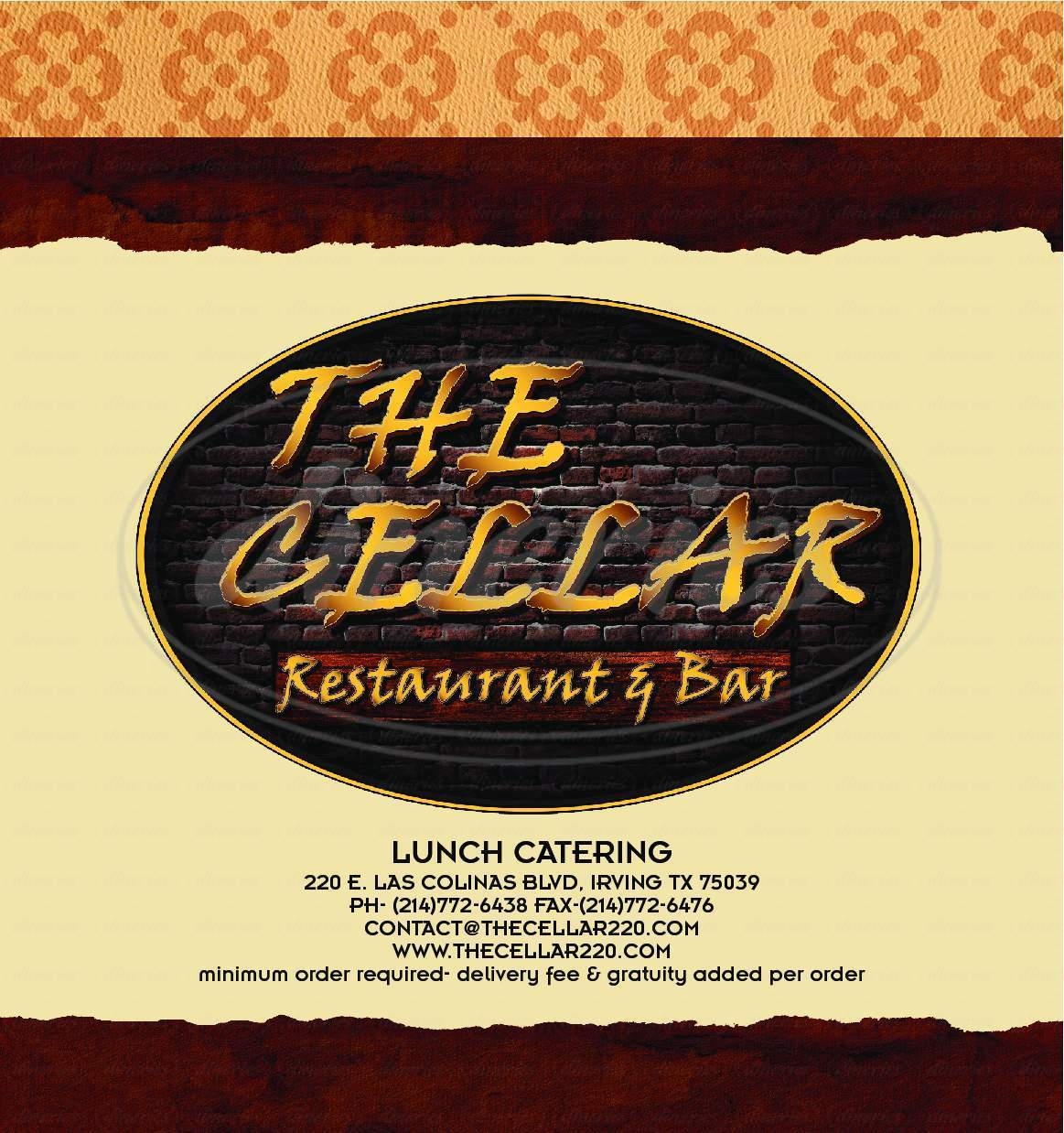 menu for The Cellar