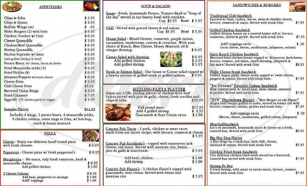 menu for The Concert Pub North